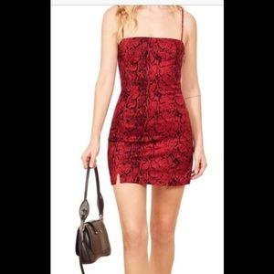 Reformation Morrison dress in red cobra
